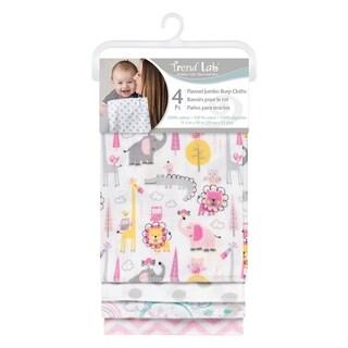 Pink Safari 4 Pack Flannel Burp Cloth Set