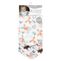 Scandi Moose 2 Pack Reversible Flannel Bandana Bib Set