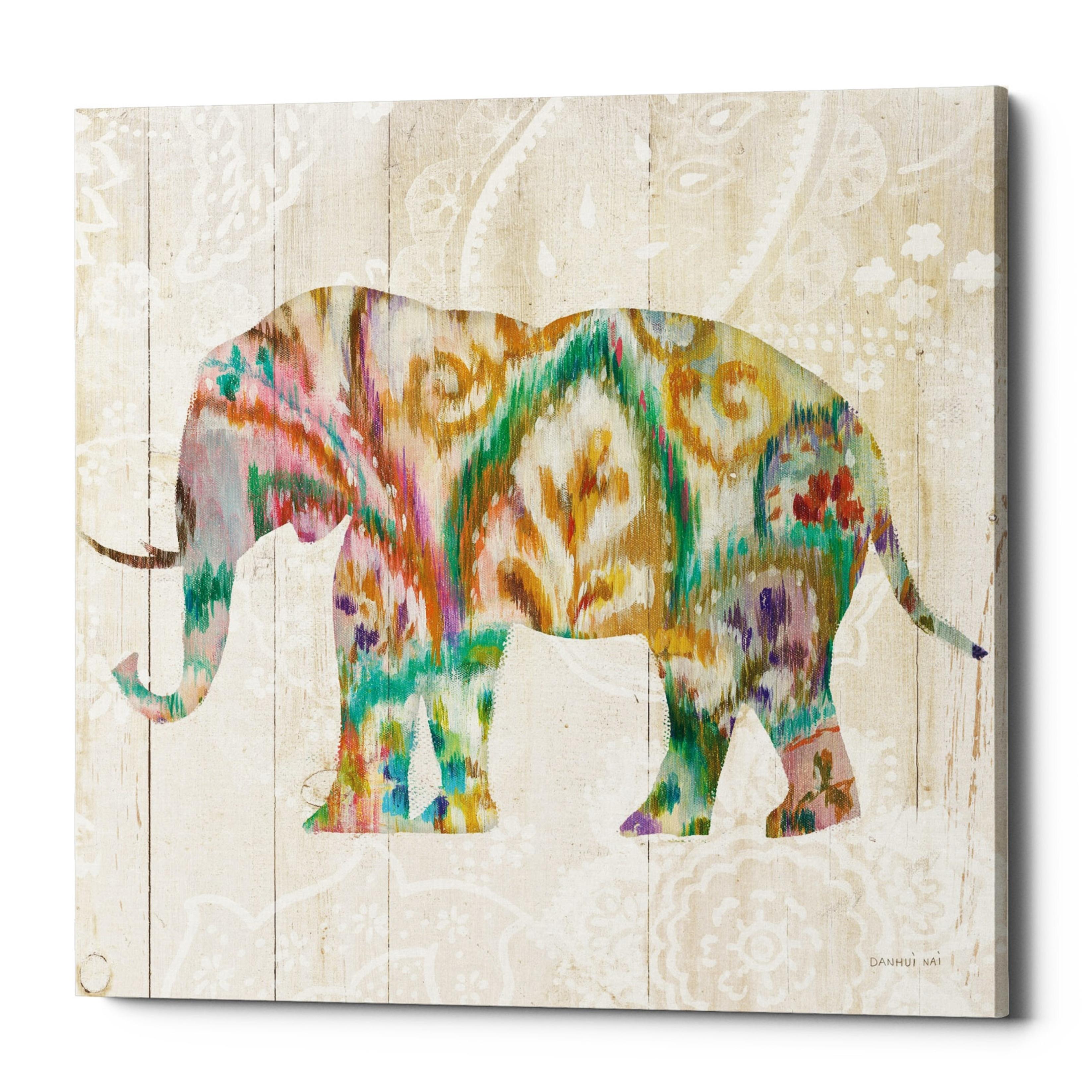 Epic Graffiti Boho Paisley Elephant Ii V2 By Danhui Nai Giclee Canvas Wall Art 18 X 18 Overstock 23177021