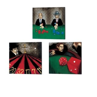 KC Haxton 'Craps, Let the Chips Fall & Spinning out of Control' Canvas Art (Set of 3)