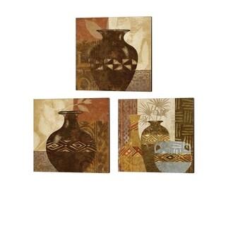 Alonzo Saunders 'Ethnic Vase' Canvas Art (Set of 3)