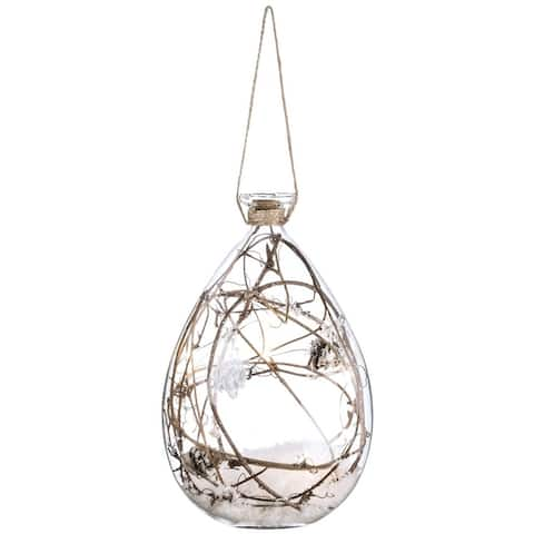 "Lighted Twig in Glass with Ornament - 5""l x 5""w x 7.5""h"