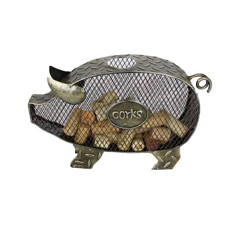 "Metal Pig Cork Holder Rustic Home & Kitchen Farmhouse Decor Wine & Bar Accessory 11"" x 7"" Handmade From Recycled Metal"