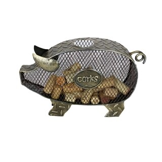 """Metal Pig Cork Holder Rustic Home & Kitchen Decor Wine & Bar Accessory 11"""" x 17"""" Handmade From Recycled Metal"""