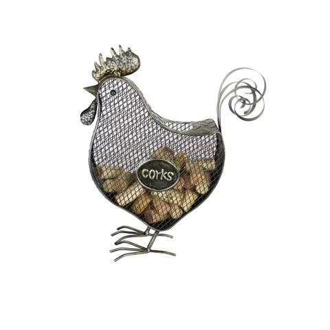 """Metal Rooster Cork Holder Rustic Home & Kitchen Decor Wine & Barware Accessory 13"""" x 11"""" Handmade From Recycled Metal"""