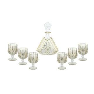 Liquor Bottle & Cordial Glasses 7-pc Decanter Set w/Gold Trim Sophisticated Liqueur Presentation