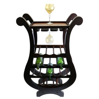 """Large Wooden Wine Rack Holds 15 Bottles & 3 Wine Glasses for Display & Storage, Has Tray On Top to Set Items 24"""" x 11"""" x 39"""""""