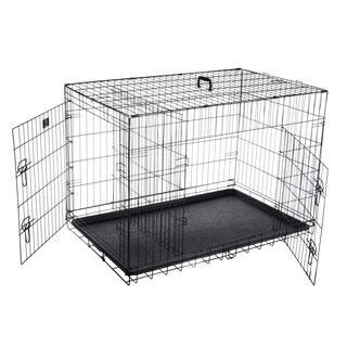"Pet Trex 42"" Folding Pet Crate Double Door Kennel Wire Cage"