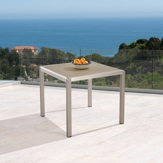Cape Coral Outdoor Anodized Aluminum Square Silver and Gray Dining Table By Christopher Knight Home