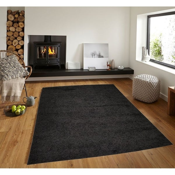 Discount 8x11 Area Rugs: Shop Solid Black Shag Area Rug 5X7