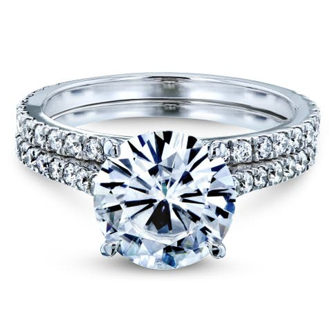 Annello by Kobelli 14k Gold 3-2/5ct TGW Basket Cathedral Round Moissanite and Diamond Bridal Rings Set (DEF/VS, GH/I)