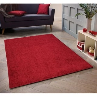Shop Solid Red Shag Area Rug 5x7 Free Shipping Today