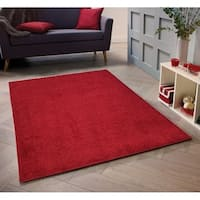 Solid Red Shag Area Rug 5X7