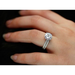 Link to Annello by Kobelli 14k Gold 3-2/5ct TGW Basket Cathedral Round Moissanite and Diamond Bridal Rings Set (HI/VS, GH/I) Similar Items in Rings