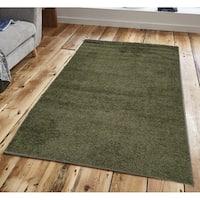 Solid Sage Green Shag Area Rug 5X7