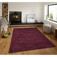 Solid Wine Red Shag Area Rug 5X7
