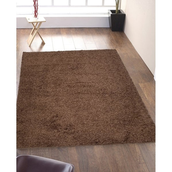 Shop Solid Light Brown Shag Area Rug 5x7 Free Shipping