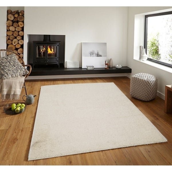 Shop Solid Ivory Shag Area Rug 5x7 Free Shipping Today