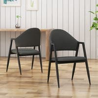 Elmhurst Mid-Century Modern Iron Legs  Open Back Dining Chairs By Christopher Knight Home