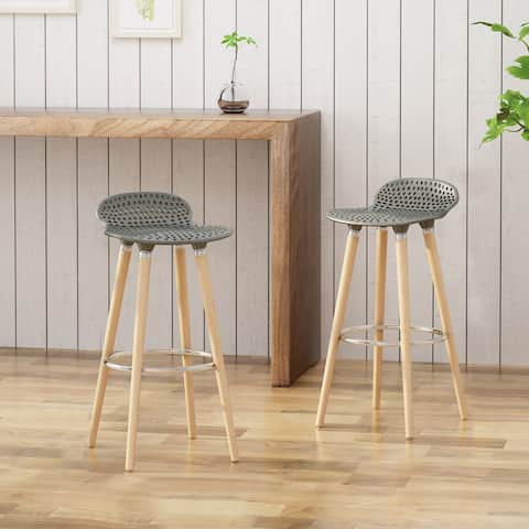 "Dellwood Plastic Perforated Tractor Seats Beechwood Legs 28.5"" Seats Bar Stools (Set of 2) by Christopher Knight Home"