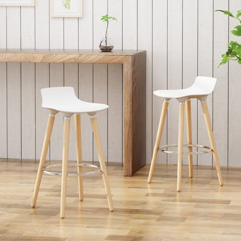 "Hawkes Plastic Tractor Seats Beechwood Legs 28.5"" Seats Bar Stools (Set of 2)By Christopher Knight Home"