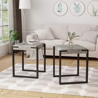 Balestier Modern Contemporary Faux Wood Top Metal Legs End Tables (Set of 2) by Christopher Knight Home