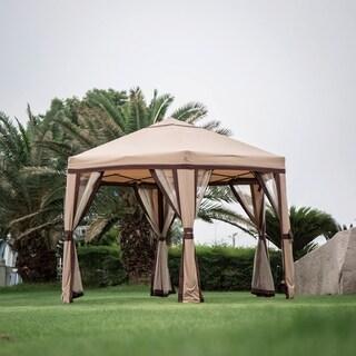 Kinbor 11.8' x 10.2' Garden Gazebo Outdoor Patio Hexagon Gazebo Pop-Up Gazebo Canopy w/ Mosquito Netting