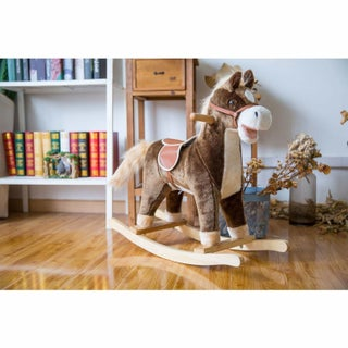 Kinbor Plush Toy Kids Stuffed Rocking Horse Rocker Wooden Animal Ride on