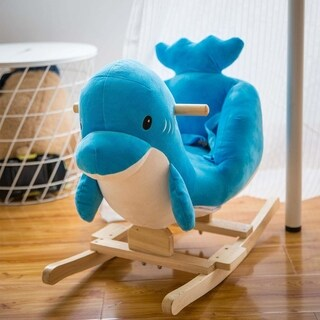 Kinbor Kids Plush Toy Rocking Horse Rocker Wooden Animal Ride on Toy Children's Day Birthday Gift
