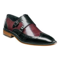 Men's Stacy Adams Brewster Double Monk Strap Wingtip 25055 Burgundy/Multi Buffalo Leather