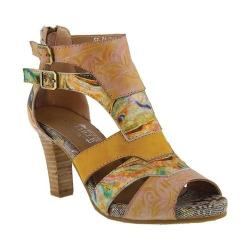 Women's L'Artiste by Spring Step Brooke Open Toe Bootie Yellow Multi Leather