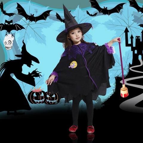 Cute Kids Halloween Cosplay Coat Cloak With Hat Halloween Suits Set