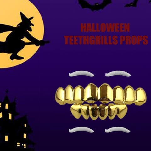 Hip Hop Custom Fit Plated Vampire 8 Hollow Open Face Gold Mouth GRILLZ Cap Top