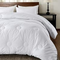 Basic Beyond Down Alternative Comforter White Plush Microfiber Fiberfill, Quilted Comforter with Corner Tabs