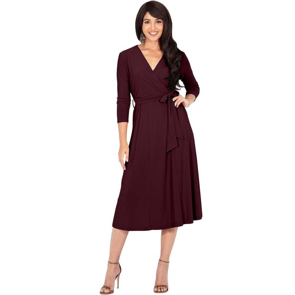 Women/'s V-Neck Long Sleeve Wrap High Waist Dress Casual Solid Party Midi Dress