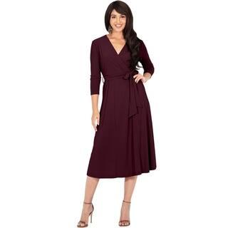 KOH KOH Womens V-Neck 3/4 Sleeve Flowy Sundresses Summer Midi Dress