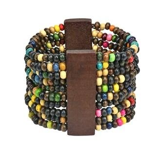 Handmade Stylish Wooden Beads Wide Stretch Cuff Bracelet (Thailand)