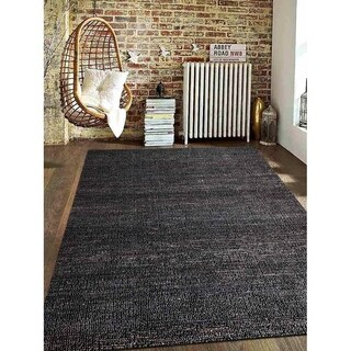 Hand Woven Jute Solid Eco-Friendly Natural Area Rug Charcoal