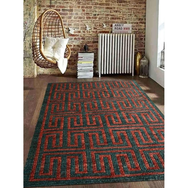 Hand Knotted Sumak Jute Solid Eco Friendly Natural Area Rug Dark Green Rust