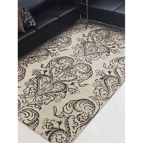 Hand Tufted Wool Area Rug Floral Cream Brown 4 X 6 On Sale Overstock 23247866