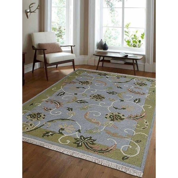 Hand Knotted Sumak Wool Area Rug Floral Light Blue Green 4 X 6 Overstock 23247949
