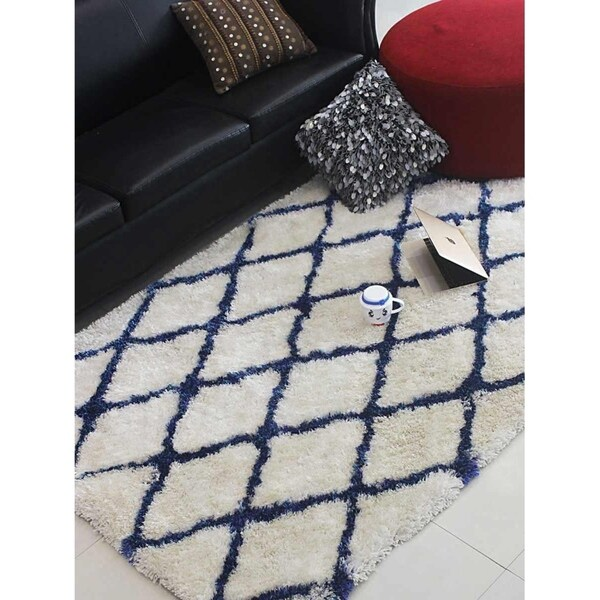 Shop Hand Tufted Shag Area Rug Geometric White Blue Free Shipping
