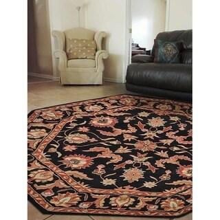 Black/Multicolor Wool Handmade Oriental Octagon Area Rug - 8' x 8'