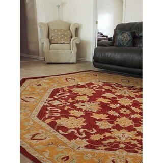 Handmade Oriental Red/Gold Wool Octagon Area Rug - 8' x 8'