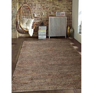 Hand Knotted Sumak Jute Geometric Eco-Friendly Area Rug Natural