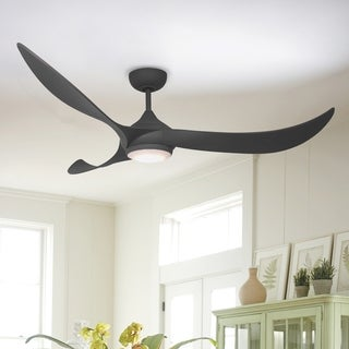 """Contemporary 56-inch Wave 3-Blades Ceiling Fan with Light Kit - 52"""""""