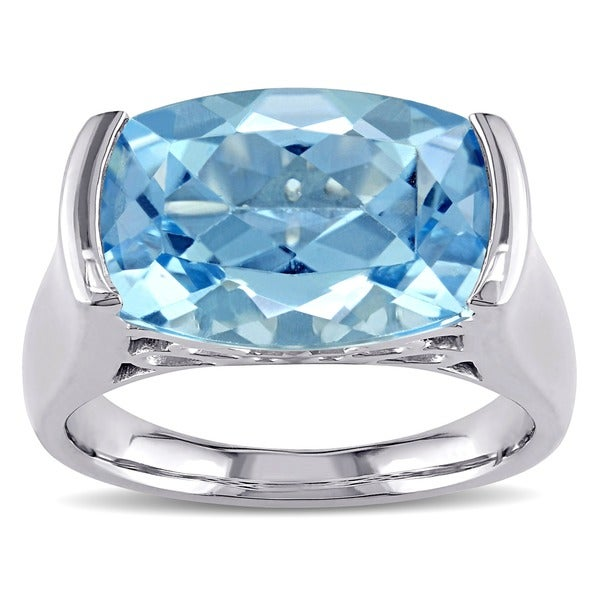 Miadora Sky Blue Topaz and Silver Ring