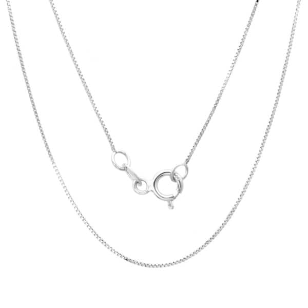 14K Solid White Gold .50 mm Thin Box Necklace Chain Spring Ring Clasp 16 18 20 inches