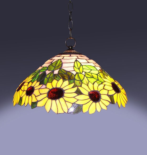 Tiffany-style Sunflower Hanging Lamp, Brown copper (Bronze)