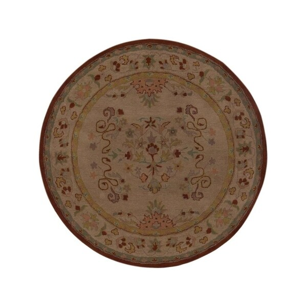 Shop Beige Wool Hand Knotted Oriental Persian Area Rug 6: Shop Hand Tufted Wool Round Area Rug Oriental Cream Beige